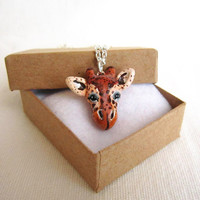 Giraffe necklace, Tiny hand painted polymer clay pendant