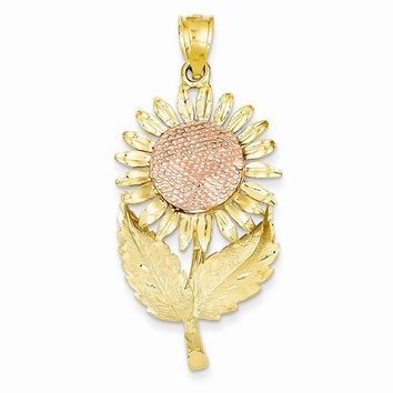 14k Two tone Gold Sunflower Pendant