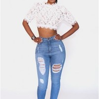 Venice Lace Side Zip Top- White