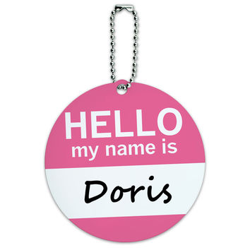 Doris Hello My Name Is Round ID Card Luggage Tag