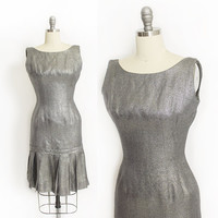 Vintage 1960s Dress - Metallic Silver Lame Fitted Wiggle Cocktail PleatedDress 60s - XS Extra Small