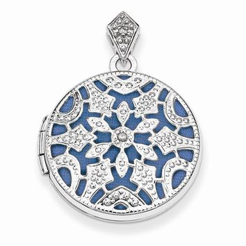 Sterling Silver 20mm Round w/Diamond Vintage Locket