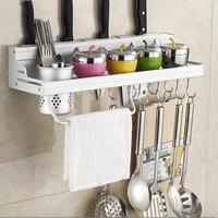 Aluminum Kitchen Shelf, kitchen rack, Cooking Utensil Tools Hook Rack, kitchen Holder & Storage 30cm-60cm choice