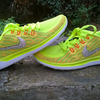 blinged nike free 5.0+2  run sneakers athletic sport shoes womens green/yellow/glow red color custom with crystal swarovski