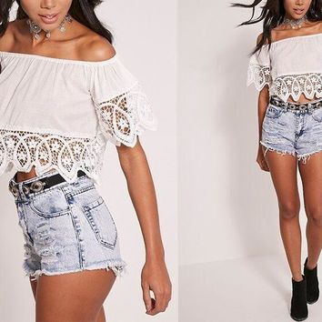 Fashion Off Shoulder Short Sleeve Hollow Lace Stitching Solid Color Crop Tops
