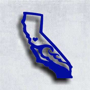California Outline with Waves and Heart at your area - car stickers - window stickers - decals - cali - golden state - west coast
