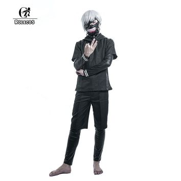 ROLECOS Brand New Japanese Anime Tokyo Ghoul Cosplay Costumes Kaneki Ken Cosplay Costumes Hoodies Black Fight Uniform Full Set