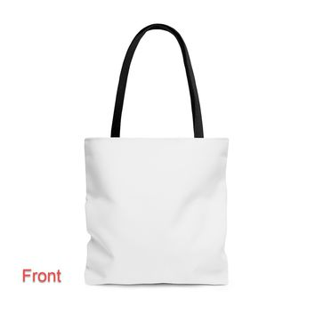 Black Handle White Canvas Tote Bag