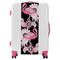 Pink Flamingo Girly Cute Personalized Black Luggage