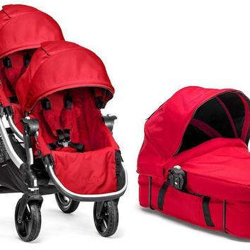 Baby Jogger City Select Twin Double Stroller Ruby with Second Seat & Bassinet