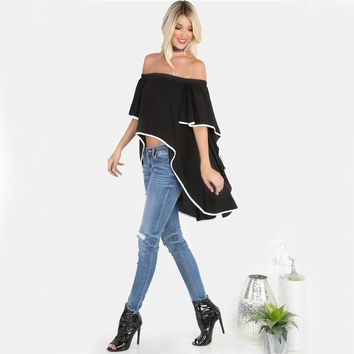 Women Contrast Lined Blouses Black Bardot Waterfall Draped Tops