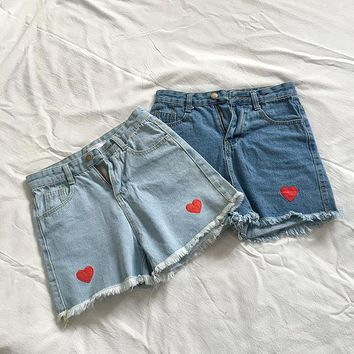 High Waist Denim Shorts for Women Summer Love Embroidery Jeans Short Vintage Casual Femme Short Jeans Mujer WS6251