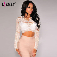 LIENZY 2016 NEW Sexy White Lace Crop Top Long Sleeve V Neck Hollow Out Back Zipper Short Women Lace Up Shirt
