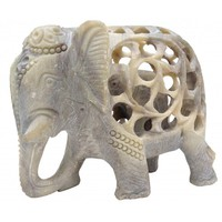 """Wandering Majesty"" 5"" Handmade Soapstone Elephant Sculpture – Mother & Baby Filigree Stone art - Unique Animal Decor"