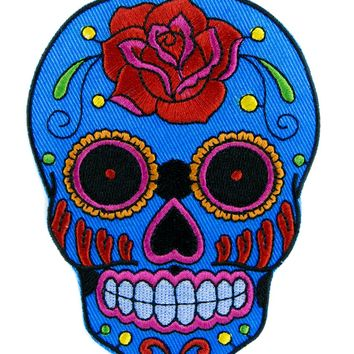 Day of the Dead Blue Sugar Skull Patch Iron on Applique Dia De Los Muertos Clothing