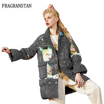 Winter New Fashion High Quality Personality Loose Cartoon Print Women Down Jacket Flare Sleeve High necked Cute Long Parkas LY46