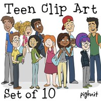 Teen Clip Art | Set of 10 Older High School Kids | Teenager Students