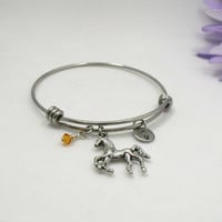 Horse Bracelet Bangle - Birthstone Jewelry - Initial Charm -Birthday Bracelet - Zodiac Jewelry - Personalized Gift - Horse Bangle