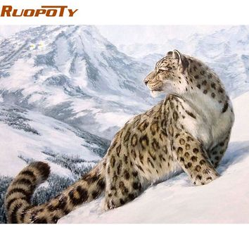RUOPOTY America Leopard DIY Painting By Numbers Handpainted Oil Painting Home Decor Wall Art Picture For Living Room 40x50cm