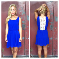 Royal Blue Sleeveless Dress with Back Lace Detail