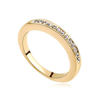 7.25 Best Quality Gold Wedding Rings Made with Swarovski Elements Crystal for Women Engagement Ring Fine Jewelry Bijoux
