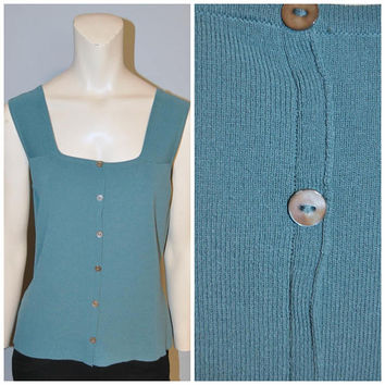 Vintage 1990's Slinky Button Front Tank Top Teal Blue Green Thick Strap Tank Top Square Neckline Sleeveless Shirt Joseph A. Large Ribbed