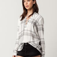 SKY AND SPARROW Plaid Rayon Womens Lace Up Top | Shirts + Flannels