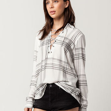 SKY AND SPARROW Plaid Rayon Womens Lace Up Top   Shirts + Flannels