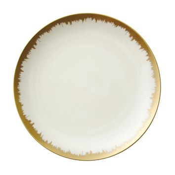 AURA DINNERWARE IN WHITE WITH GOLD BRUSHSTROKE