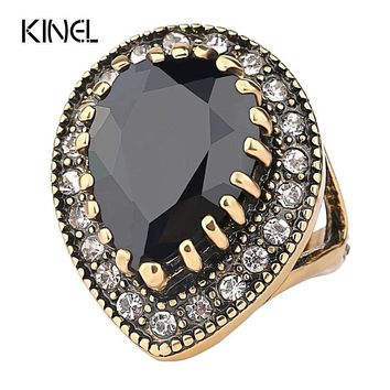Antique Vintage Gold Black Victoria Ring With Black Stone