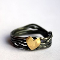 Supermarket: Nested Heart Ring in Sterling Silver from Rachel Pfeffer Designs