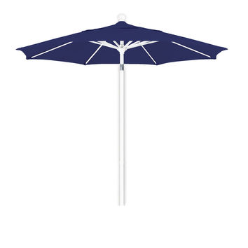 7 1/2 Foot Sunbrella 1A Fabric Aluminum Pulley Lift Patio Patio Umbrella with White Pole