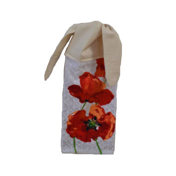 Poppy Dish Towel, Kitchen Hand Towel, Hanging Towel, Gift for Her, Tie on Towel, Floral Decor, Tea Towel, Spring Decor, Floral Gift