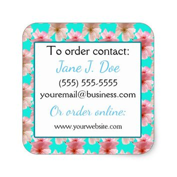 Avon Sales Brochure Stickers, Blue Floral Square Sticker