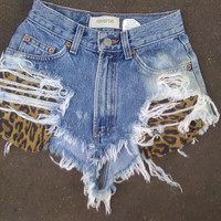 Destroyed High Waisted Cheetah Print Shorts