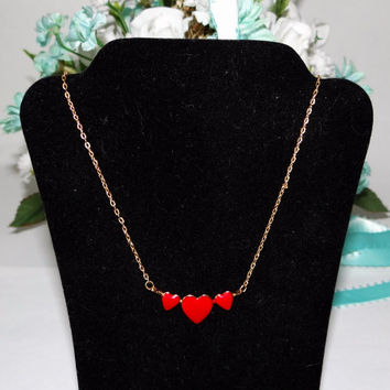 Vintage Girls Red Triple Heart Necklace, small 13 inch choker, 1990s, Christmas gift, girls birthday gift, gift for her