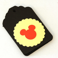 6, 25, 100 Red, Black, and Yellow Extra Large Smooth Cardstock Gift Tags with Mouse cut outs
