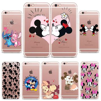 Cute Mickey Mouse Minnie Kiss Transparent Soft TPU Cover Cell Phone Case For iPhone 7 case or 4 4S 5 5S SE 5c 6 6s 7 8X Plus