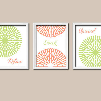 Shower Curtain Bathroom Wall Art Canvas Artwork Lime Green Orange Relax Soak Unwind Dahlia Flower Sun Burst Set of 3 Prints Decor Three