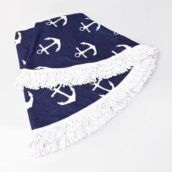 Navy & White Anchor Print Round Fringed Beach Towel