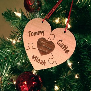 LOCAL ORDERS - NO SHIPPING for Together We Make A Family Personalized Wood Ornament