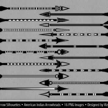 Feathered Tribal Arrow Silhouettes Clip Art, American Indian Arrowheads, silhouette arrows clipart, digital arrow images, Buy 2 Get 1 Free