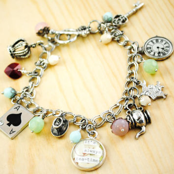 Alice in Wonderland Charm Bracelet - Women's Charm Bracelet - Mad Hatter's Tea Party - Quote Bracelet - It's always tea time