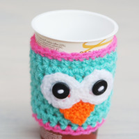 Owl Cosy Cup Can Warmer  Holder  Uk Stocking Filler