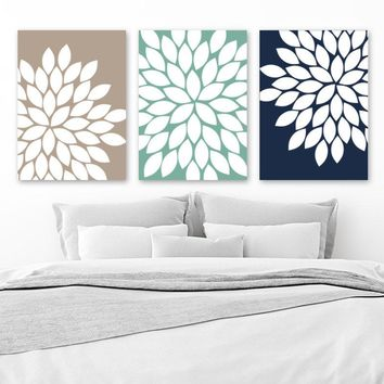 Flower Wall Art, Canvas or Prints, Floral Bedroom Pictures, Navy Beige Bathroom Decor, Flower Petals Wall Art, Set of 3, Home Decor Pictures