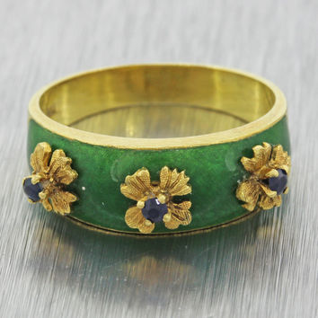 1960s Vintage Victorian Style 18k Yellow Gold Green Enamel Sapphire Flower Ring