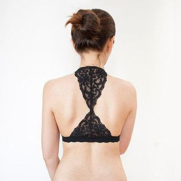 Triangle Black Lace Bralette. Halter Wireless Bra Top. Unique Lingerie