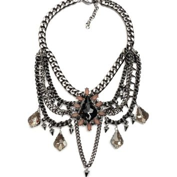 Gunmetal Chain and Crystal Statement Necklace