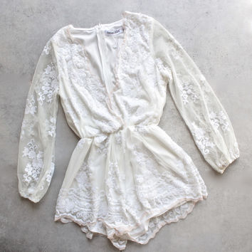 reverse - life of the party ivory sequin romper