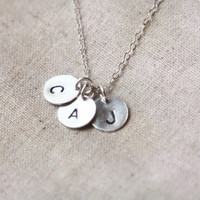 Monogram Discs Sterling Silver Necklace, Family Necklace, daily jewelry, Sister, Children, Grandma, Mother's Jewelry